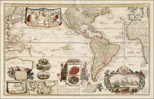 World, Pacific, Australia, New Zealand, California as an Island and America Map By Hendrick De Leth