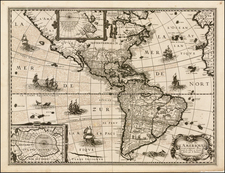 Alaska, South America and America Map By Petrus Bertius