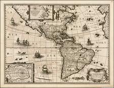 Alaska, South America and America Map By Petrus Bertius