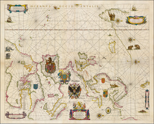 Atlantic Ocean and Europe Map By Willem Janszoon Blaeu