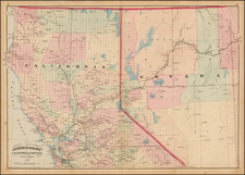 Nevada and California Map By Asher  &  Adams