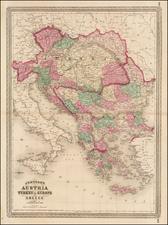 Europe, Hungary, Balkans, Greece and Turkey Map By Alvin Jewett Johnson