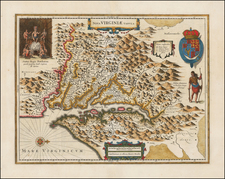 Mid-Atlantic, Southeast and Virginia Map By Henricus Hondius