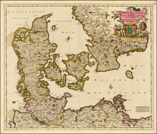 Sweden and Denmark Map By Justus Danckerts
