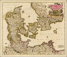 Dania Regnum In quo sunt Ducatus Holsatia et Slesvicum Insulae Danicae et Provinciae Iutia Scania Blekingia et Hallandia . . . By Justus Danckerts
