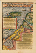 Mediterranean, Balearic Islands, Middle East and Holy Land Map By Sebastian Munster