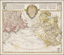 Polar Maps, Alaska, North America, Pacific and Russia in Asia Map By Leonard Von Euler