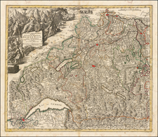 Switzerland Map By Matthaus Seutter