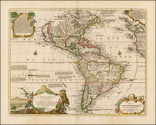 South America, New Zealand and America Map By Nicolas de Fer / Jacques-Francois Benard