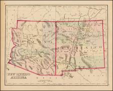 Arizona and New Mexico Map By O.W. Gray