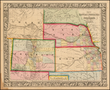 Plains, Nebraska, Southwest, Rocky Mountains, Colorado and Idaho Map By Samuel Augustus Mitchell Jr.
