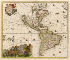 Western Hemisphere, South America and America Map By Jacob Sandrart
