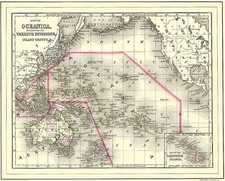 World, Australia & Oceania, Pacific, Oceania and Hawaii Map By Samuel Augustus Mitchell Jr.