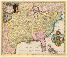 United States, South, Southeast, Texas, Midwest, Plains and Southwest Map By Johann Baptist Homann