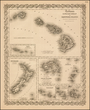 Hawaii, New Zealand and Hawaii Map By G.W.  & C.B. Colton
