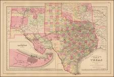 Texas Map By Samuel Augustus Mitchell Jr.