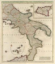 Europe, Italy, Mediterranean and Balearic Islands Map By Justus Danckerts
