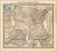 United States, Mid-Atlantic, South and Southeast Map By Samuel Augustus Mitchell Jr.