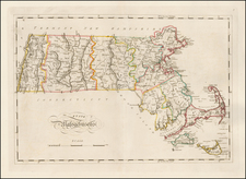 New England and Massachusetts Map By Mathew Carey