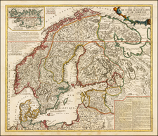 Scandinavia Map By Vincenzo Maria Coronelli / Jean-Baptiste Nolin