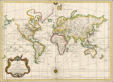 World, World, Australia and New Zealand Map By Jacques Nicolas Bellin
