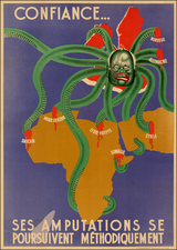 Europe, Europe, Africa, Africa, Curiosities, Comic & Anthropomorphic, Portraits & People and World War II Map By Anonymous