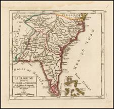 Florida, South and Southeast Map By Gilles Robert de Vaugondy