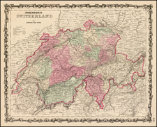 Switzerland Map By Benjamin P Ward  &  Alvin Jewett Johnson