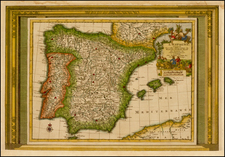 Spain and Portugal Map By Pieter van der Aa