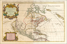 North America and California Map By Alexis-Hubert Jaillot