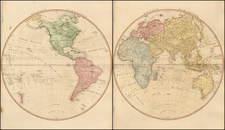 Eastern Hemisphere and Western Hemisphere Map By William Faden