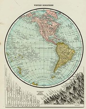 World, Western Hemisphere, South America and America Map By George F. Cram