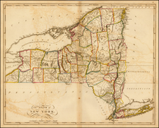 New York State Map By Mathew Carey
