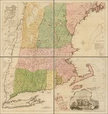 New England, Connecticut, Maine, Massachusetts, New Hampshire, Rhode Island and Vermont Map By Thomas Jefferys / Bradock Mead