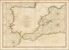 Spain, Portugal, Mediterranean, Balearic Islands and North Africa Map By William Faden