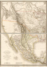Texas, Southwest, Rocky Mountains, Mexico, Baja California and California Map By Pierre Antoine Tardieu