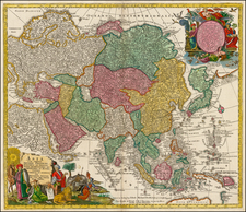 Asia and Asia Map By Matthaus Seutter / Johann Michael Probst