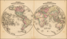 World Map By Benjamin P Ward  &  Alvin Jewett Johnson