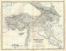 Europe, Turkey, Balearic Islands, Asia and Turkey & Asia Minor Map By W. & A.K. Johnston