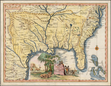 Florida, South, Southeast, Texas and Midwest Map By Giambattista Albrizzi