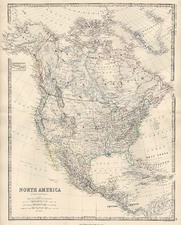 North America Map By W. & A.K. Johnston