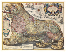 Netherlands Map By Jodocus Hondius / Hessel Gerritsz