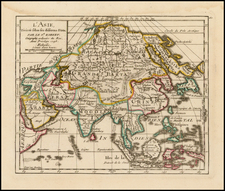 Asia and Asia Map By Gilles Robert de Vaugondy