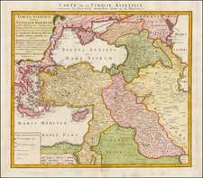 Turkey, Middle East and Turkey & Asia Minor Map By Homann Heirs