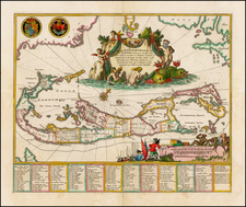Caribbean Map By John Ogilby