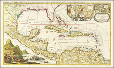 Florida, South, Southeast, Caribbean and Central America Map By Johannes Covens  &  Pieter Mortier