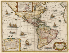 South America and America Map By Melchior Tavernier / Petrus Bertius
