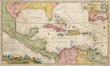 Florida, South, Southeast, Mexico, Caribbean, Central America and South America Map By Herman Moll  &  Robert Morden