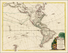 South America and America Map By Charles Francois Delamarche