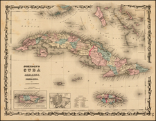 Caribbean Map By Alvin Jewett Johnson  &  Browning